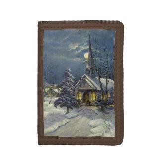 Vintages Weihnachten, Winter-Kirche im Schnee mit