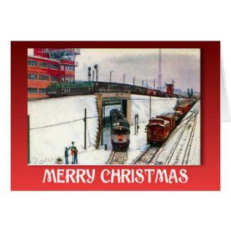 Vintages Weihnachten, Züge an einer Kreuzung Karte