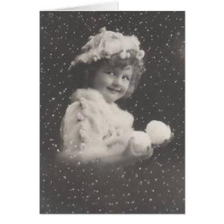 Vintages Weihnachtenc$notecardmädchen mit Karte