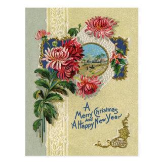 Vintages Weihnachts-/neues Jahr-Blumenbethlehem-Sz Postkarte