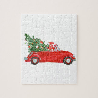 Vintages Weihnachtsauto Puzzle