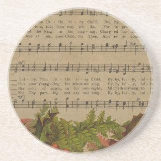 Vintages Weihnachtscarol-Musik-Blatt Getränkeuntersetzer