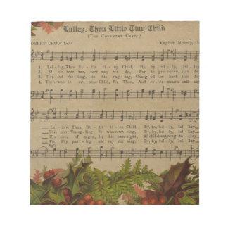 Vintages Weihnachtscarol-Musik-Blatt Notizblock
