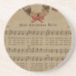 Vintages Weihnachtscarol-Musik-Blatt Sandstein Untersetzer