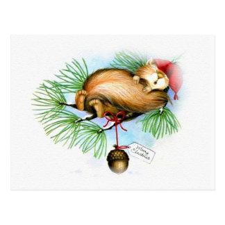 Vintages Weihnachtseichhörnchenträumen Postkarte