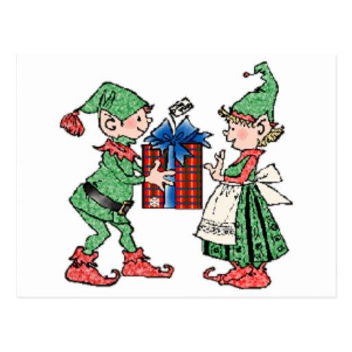 Vintages Weihnachtself-Geschenk-Geben Postkarten