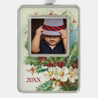 Vintages Weihnachtshartriegel-Gewohnheits-Foto Rahmen-Ornament Silber