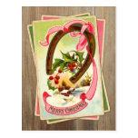 Vintages Weihnachtshufeisen u. Winter-Szene w/Holl Postkarten