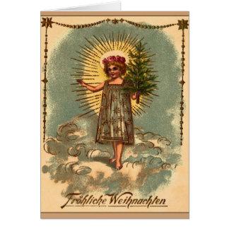 """Vintages Weihnachtskarte """"Engel MIT Weihnachtsbaum Karte"""