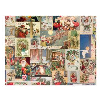 Vintages Weihnachtskarten-Feiertags-Muster Postkarte