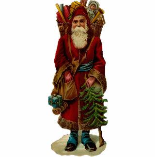 Vintages Weihnachtsmann-Skulptur-Button