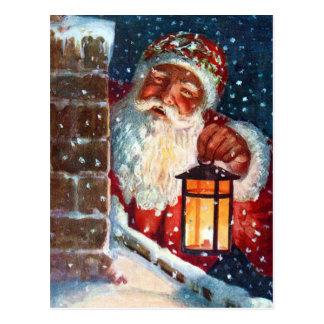 Vintages Weihnachtsmann-Vater-Weihnachten auf Dach Postkarte