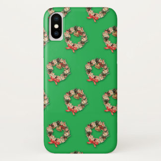 Vintages Weihnachtsmuster, BlumenWreaths auf Grün iPhone X Hülle