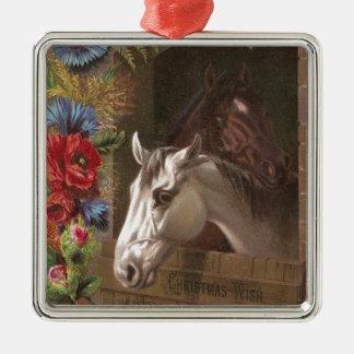Vintages Weihnachtspferd Silbernes Ornament