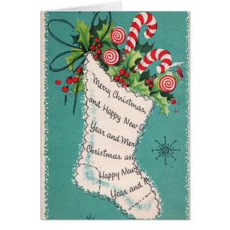 Vintages Weihnachtsretro Strumpf addieren Karte