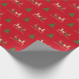 Vintages Weihnachtssleigh-Fahrverpackungs-Papier Geschenkpapier