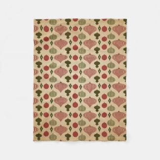Vintages Weihnachtsverzierungs-Muster Fleecedecke