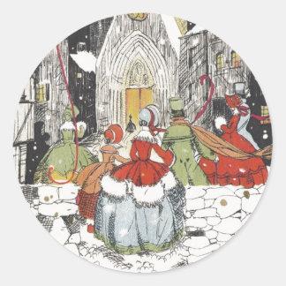 Vintages Weihnachtsviktorianische Leute, die zur Runder Aufkleber