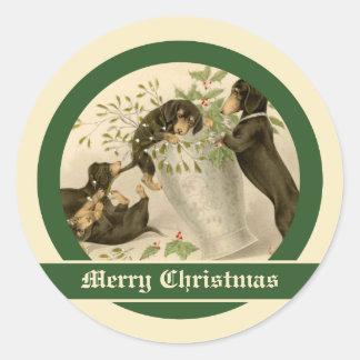 Vintages Weihnachtsviktorianische niedliche Runder Aufkleber