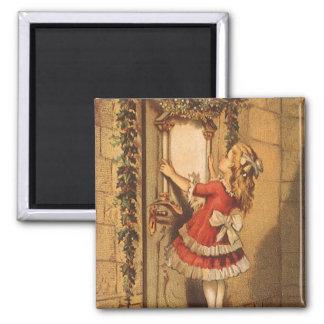 Vintages Weihnachtsviktorianisches Mädchen, das Quadratischer Magnet
