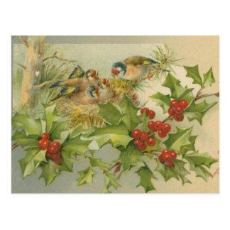 Vintages Weihnachtsvogel-Nest Postkarte