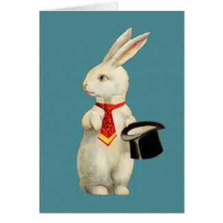 Vintages weißes Kaninchen Karte