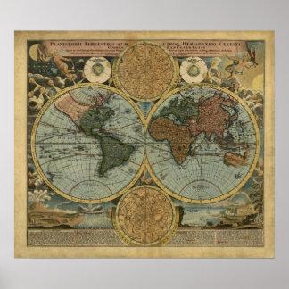 Vintages Weltkarten-Plakat - Homann Weltkarte 1716 Poster