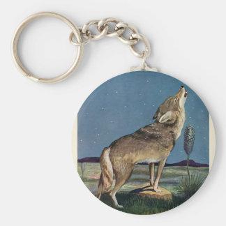 Vintages wildes Tier, Wolf, der am Mond heult Schlüsselanhänger