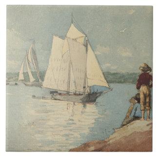 Vintages Winslow Homer klares Segeln Keramikfliese