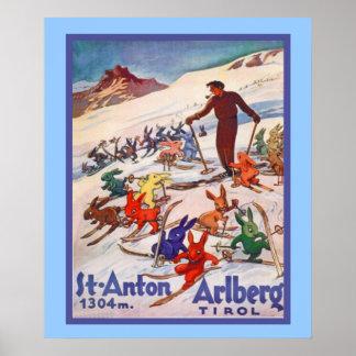 Vintages Wintersportplakat Poster