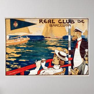 Vintages wirkliches Segeln Vereindes Barcelona Poster