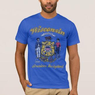 Vintages Wisconsin-Flaggen-Amerikas Dairyland T-Shirt