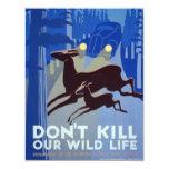 Vintages WPA Tier-Erhaltungs-Plakat 10,8 X 14 Cm Einladungskarte