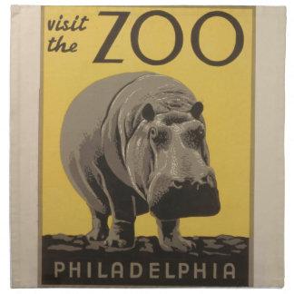 Vintages WPA Zoo-Plakat Philadelphia des Stoffserviette