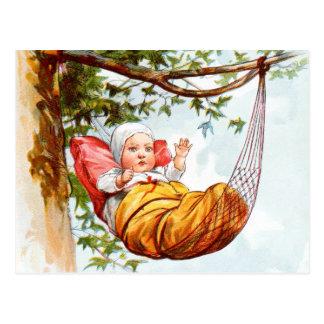 Vintages Zeichnen: Baby in einer Hängematte Postkarten