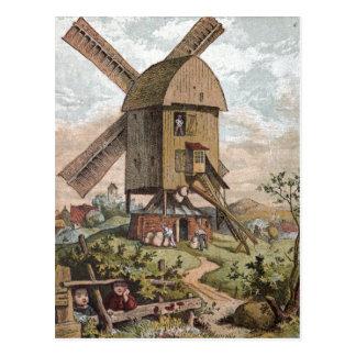 Vintages Zeichnen: Die alte Mühle Postkarte