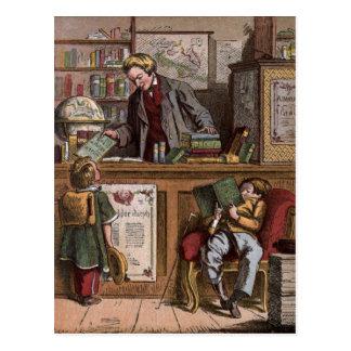 Vintages Zeichnen: Die antike Buchhandlung Postkarte