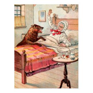 Vintages Zeichnen: Großmutter und der Wolf Postkarte