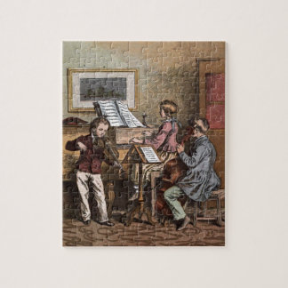 Vintages Zeichnen: Kinder in der Musik-Klasse Puzzle