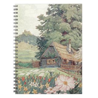 Vintages Zeichnen: Kleine GebirgsHütte im Frühling Notizblock