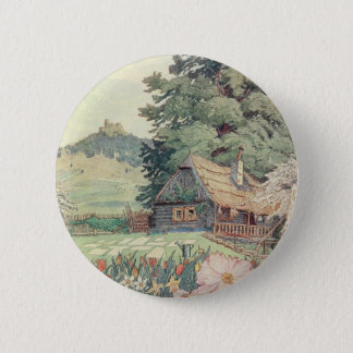 Vintages Zeichnen: Kleine GebirgsHütte im Frühling Runder Button 5,1 Cm