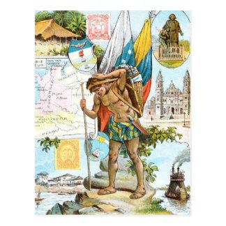 Vintages Zeichnen: Kolumbien und Ecuador Postkarte