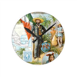 Vintages Zeichnen: Mexiko-Collage Runde Wanduhr