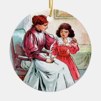 Vintages Zeichnen: Mutter und Tochter Keramik Ornament