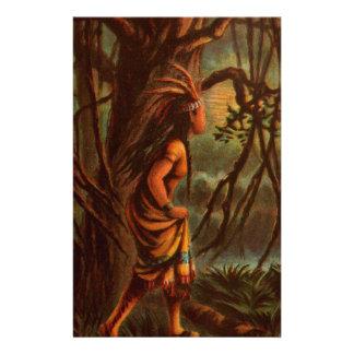 Vintages Zeichnen: Pocahontas, die indische Briefpapier
