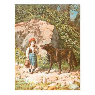 Vintages Zeichnen: Rotkäppchen und der Wolf Postkarte