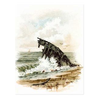 Vintages Zeichnen: Schiffbruch auf dem Strand Postkarte