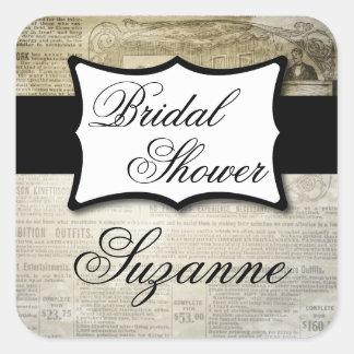 Vintages Zeitungs-Brautparty Quadratischer Aufkleber