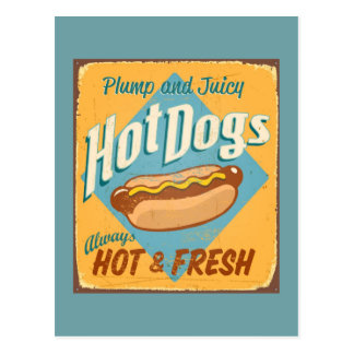 Vintages Zinnzeichen - Hotdogs Postkarten