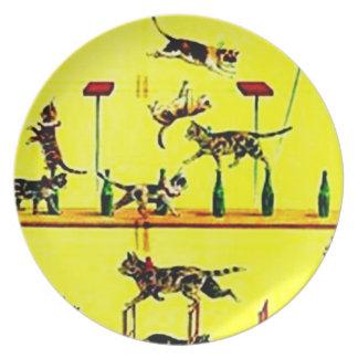 Vintages Zirkus-Katzen-Katzen-Taten-Plakat-Wand-Ku Party Teller